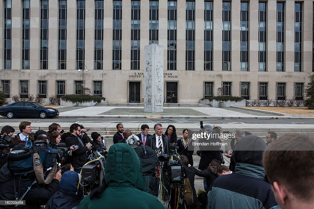 Reid Weingarten (C), the attorney for former Congressman Jesse Jackson, Jr. and his wife, former Chicago alderman Sandi Jackson, speaks to reporters outside the U.S. District Court for the District of Columbia on February 20, 2013 in Washington, DC. Both Jacksons are expected to plead guilty to federal charges of spending more than $750,000 in campaign cash on personal expenses.