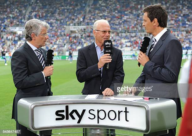 Reif Marcel Sports Reporter Germany during an interview with Franz Beckenbauer and copresenter Patrick Hellmann for TV channel Sky Sport