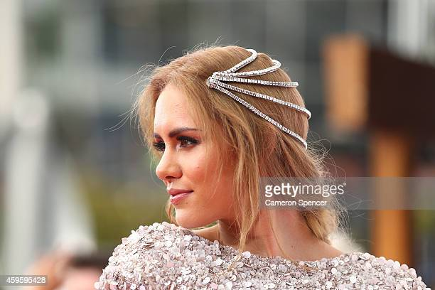 Reigan Derry arrives at the 28th Annual ARIA Awards 2014 at the Star on November 26 2014 in Sydney Australia
