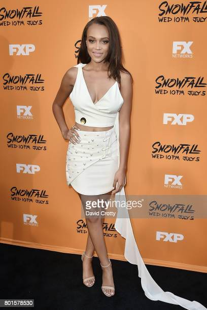 Reign Edwards attends the Premiere Of FX's 'Snowfall' Arrivals at The Theatre at Ace Hotel on June 26 2017 in Los Angeles California