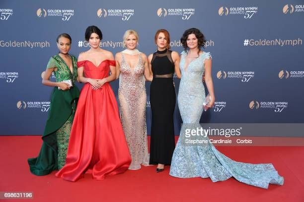 Reign Edwards Jacqueline MacInnes Wood Katherine Kelly Lang Courtney Hope and Heather Tom attend the 57th Monte Carlo TV Festival Closing Ceremony on...
