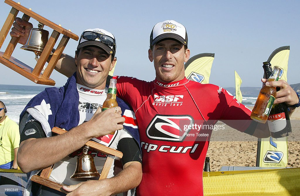 Reigning ASP world champion Andy Irons of the USA scored back to back titles in the Rip Curl Pro April 25 2003 at Johanna Beach Victoria Australia...