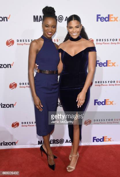 Reigning Miss USA Deshauna Barber and model Kamie Crawford arrive at Dress for Success 20th Anniversary Gala at Cipriani Wall Street on April 5 2017...