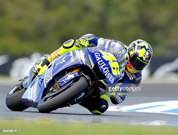 Reigning MotoGP World Champion Valentino Rossi of Italy powers out of MG Corner during practice for the Australian Motorcycle Grand Prix Phillip...