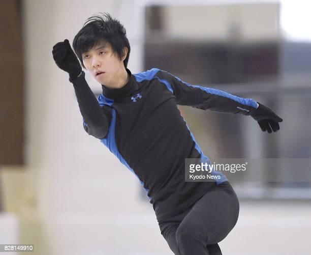 Reigning Olympic figure skating champion Yuzuru Hanyu of Japan practices in Toronto Canada on Aug 8 2017 ==Kyodo