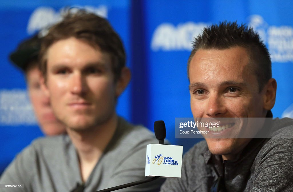 Reigning World Road Race Champion <a gi-track='captionPersonalityLinkClicked' href=/galleries/search?phrase=Philippe+Gilbert&family=editorial&specificpeople=578487 ng-click='$event.stopPropagation()'>Philippe Gilbert</a> (R) of Belgium riding for BMC Racing addresses the media as teammate Tejay van Garderen (L) of the USA riding for BMC Racing looks on during the kick off press conference for the 2013 AMGEN Tour of California on May 10, 2013 in Escondido, United States.