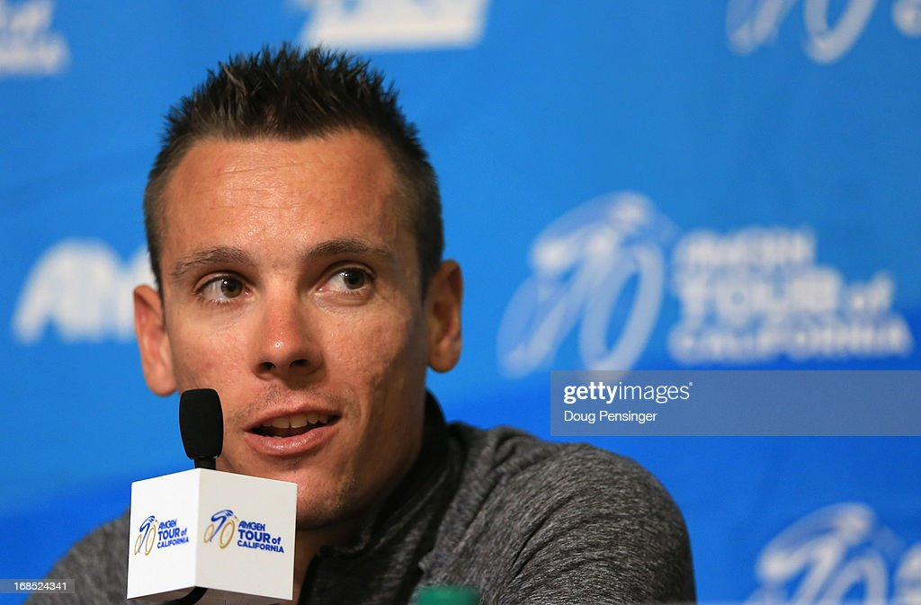 Reigning World Road Race Champion <a gi-track='captionPersonalityLinkClicked' href=/galleries/search?phrase=Philippe+Gilbert&family=editorial&specificpeople=578487 ng-click='$event.stopPropagation()'>Philippe Gilbert</a> of Belgium riding for BMC Racing addresses the media during the kick off press conference for the 2013 AMGEN Tour of California on May 10, 2013 in Escondido, United States.