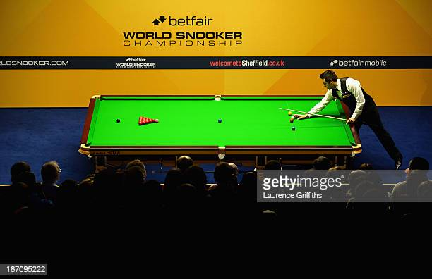 Reigning World Snooker Champion Ronnie O'Sullivan prepares to break off in his first frame back after a break from the game during the Betfair World...