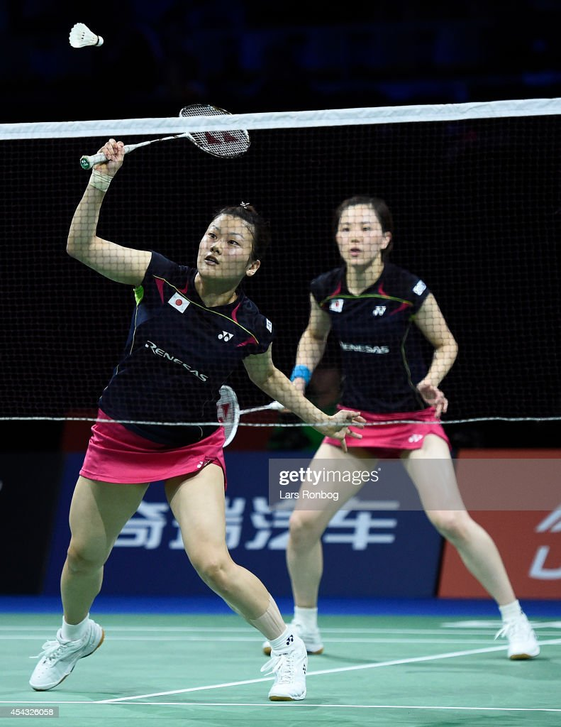 <a gi-track='captionPersonalityLinkClicked' href=/galleries/search?phrase=Reika+Kakiiwa&family=editorial&specificpeople=6694817 ng-click='$event.stopPropagation()'>Reika Kakiiwa</a> and <a gi-track='captionPersonalityLinkClicked' href=/galleries/search?phrase=Miyuki+Maeda&family=editorial&specificpeople=2538262 ng-click='$event.stopPropagation()'>Miyuki Maeda</a> of Japan in action during the Li-Ning BWF World Badminton Championships at Ballerup Super Arena on August 29, 2014 in Copenhagen, Denmark.