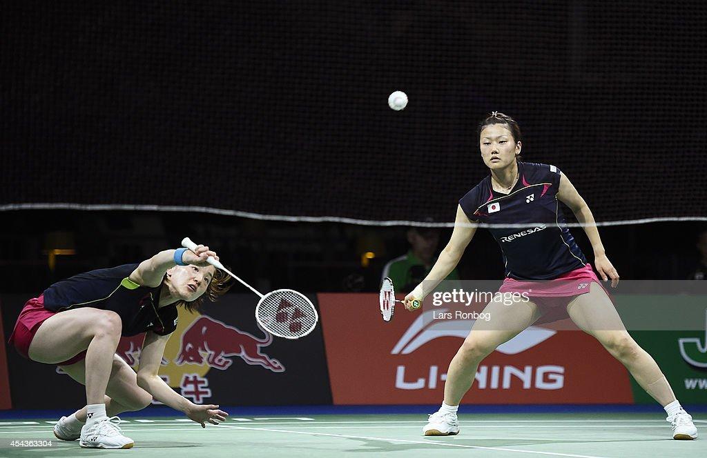 Reika Kakiiwa and Miyuki Maeda of Japan play against Xiaoli Wang and Yang Yu of China in the semifinals during the LiNing BWF World Badminton...