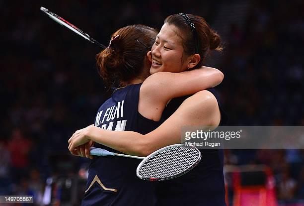 Reika Kakiiwa and Mizuki Fujii of Japan celebrate winning against Alex Bruce and Michelle Li of Canada in their Women's Doubles Badminton semi final...
