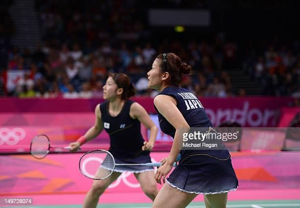 Reika Kakiiwa and Mizuki Fujii of Japan compete against Alex Bruce and Michelle Li of Canada in their Women's Doubles Badminton semi final on day 6...