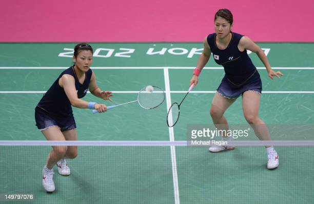 Reika Kakiiwa and Mizuki Fujii of Japan compete against Yunlei Zhao and Qing Tian of China during their Women's Doubles Badminton Gold Medal match on...