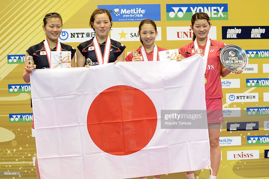 <a gi-track='captionPersonalityLinkClicked' href=/galleries/search?phrase=Reika+Kakiiwa&family=editorial&specificpeople=6694817 ng-click='$event.stopPropagation()'>Reika Kakiiwa</a>, <a gi-track='captionPersonalityLinkClicked' href=/galleries/search?phrase=Miyuki+Maeda&family=editorial&specificpeople=2538262 ng-click='$event.stopPropagation()'>Miyuki Maeda</a>, <a gi-track='captionPersonalityLinkClicked' href=/galleries/search?phrase=Misaki+Matsutomo&family=editorial&specificpeople=6831788 ng-click='$event.stopPropagation()'>Misaki Matsutomo</a> and <a gi-track='captionPersonalityLinkClicked' href=/galleries/search?phrase=Ayaka+Takahashi&family=editorial&specificpeople=8671069 ng-click='$event.stopPropagation()'>Ayaka Takahashi</a> of Japan celebrate on the podium during day six of Badminton YONEX Open on June 15, 2014 in Tokyo, Japan.