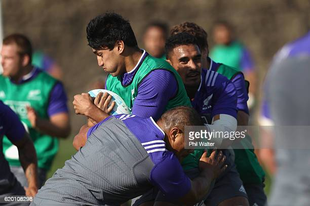 Reiko Ioane of the All Blacks is tackled during a training session at Toyota Park on November 1 2016 in Chicago Illinois