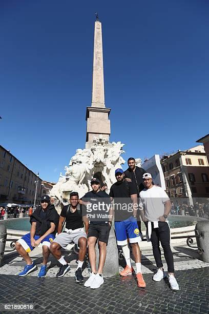 Reiko Ioane Seta Tamanivalu Anton LienertBrown Patrick Tuipulotu Lima Sopoaga and Malakai Fekitoa of the New Zealand All Blacks pose in the Piazza...