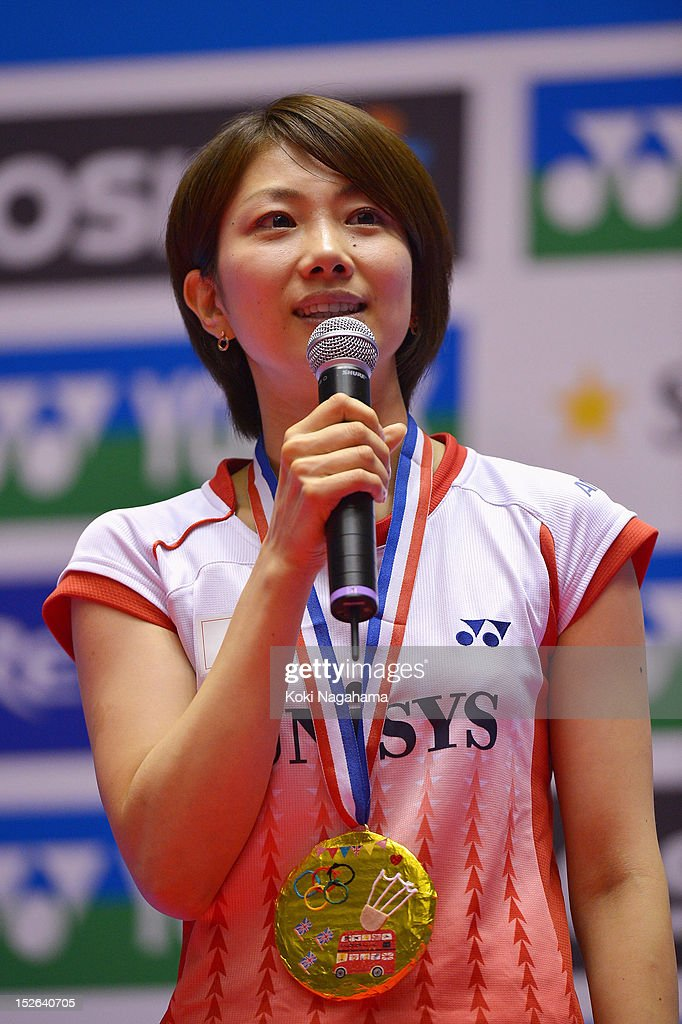 <a gi-track='captionPersonalityLinkClicked' href=/galleries/search?phrase=Reiko+Shiota&family=editorial&specificpeople=661463 ng-click='$event.stopPropagation()'>Reiko Shiota</a> of Japan speaks during her retiremennt ceremony on day five of the Yonex Open Japan 2012 at Yoyogi Gymnasium on September 23, 2012 in Tokyo, Japan.