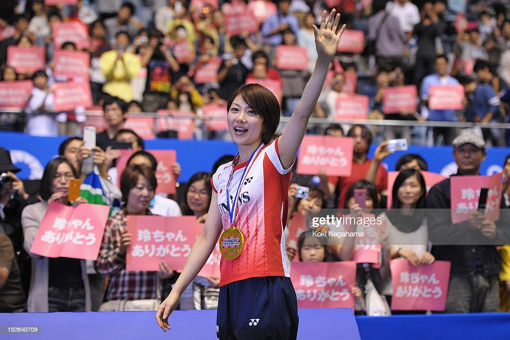 <a gi-track='captionPersonalityLinkClicked' href=/galleries/search?phrase=Reiko+Shiota&family=editorial&specificpeople=661463 ng-click='$event.stopPropagation()'>Reiko Shiota</a> of Japan waves to the crowd during her retiremennt ceremony on day five of the Yonex Open Japan 2012 at Yoyogi Gymnasium on September 23, 2012 in Tokyo, Japan.