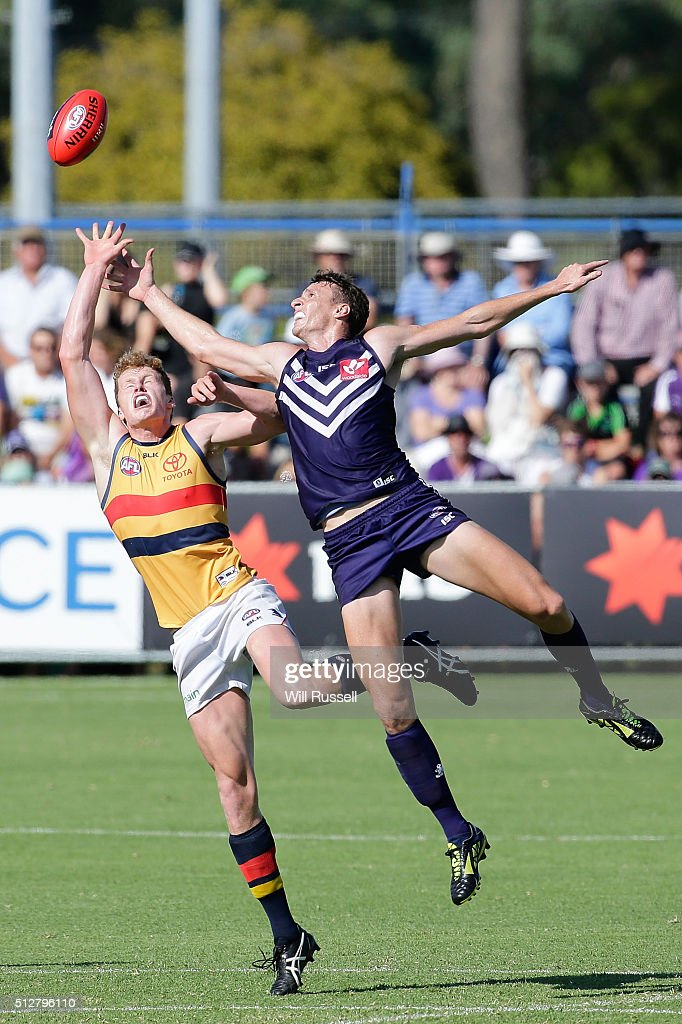 Reilly O'Brien of the Crows contests a ruck with Jonathon Griffin of the Dockers during the 2016 AFL NAB Challenge match between the Fremantle Dockers and the Adelaide Crows at Sounness Park on February 28, 2016 in Perth, Australia.