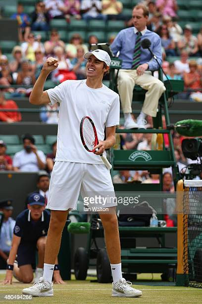 Reilly Opelka of the United States celebrates after winning in the Final of the Boys Singles against Mikael Ymer of Sweden during day thirteen of the...