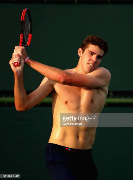 Reilly Opelka of the United States during his practice session on day five of the BNP Paribas Open at Indian Wells Tennis Garden on March 10 2017 in...