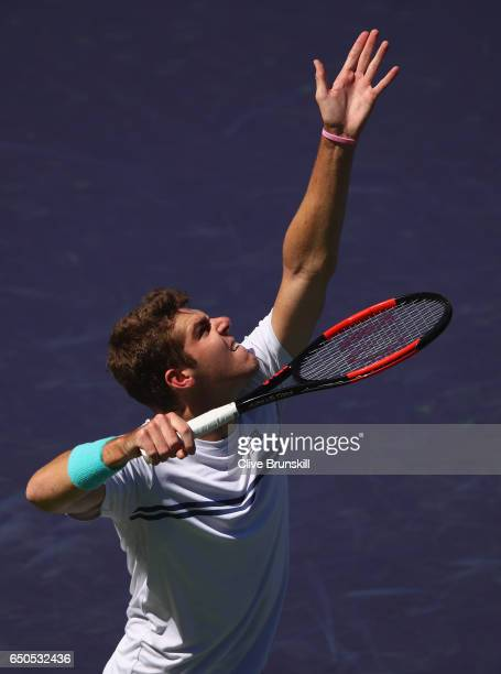Reilly Opelka of the United States serves against Peter Gojowczyk of Germany in their first round match during day four of the BNP Paribas Open at...