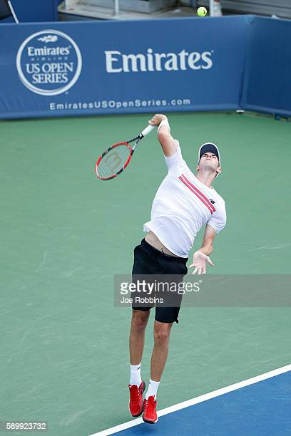 Reilly Opelka of the United States serves to Jeremy Chardy of France on Day 3 of the Western Southern Open at the Lindner Family Tennis Center on...