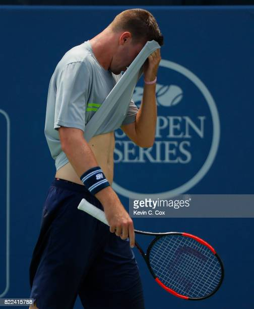 Reilly Opelka reacts during the match against Malek Jaziri of Tunisia during the BBT Atlanta Open at Atlantic Station on July 25 2017 in Atlanta...