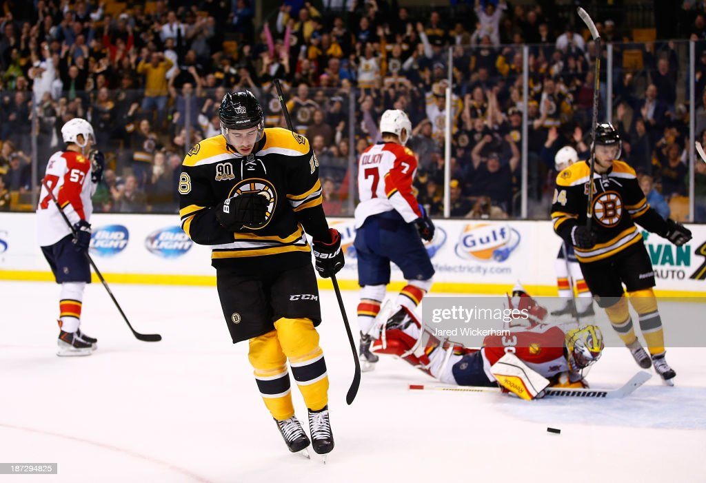 Reilly Smith of the Boston Bruins celebrates after scoring on Scott Clemmenson of the Florida Panthers in the third period at TD Garden on November 7...