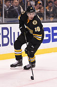 Reilly Smith of the Boston Bruins skates against the Buffalo Sabres at the TD Garden on December 21 2014 in Boston Massachusetts