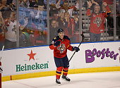 Reilly Smith of the Florida Panthers celebrates a goal during a game against the Colorado Avalanche at BBT Center on October 27 2015 in Sunrise...