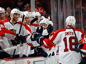 Reilly Smith of the Florida Panthers celebrates his goal at 728 of the third period against the New Jersey Devils at the Prudential Center on...