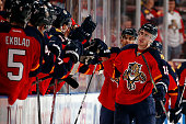 Reilly Smith of the Florida Panthers celebrates his goal with teammates during the second period against the Ottawa Senators at the BBT Center on...