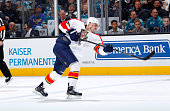 Reilly Smith of the Florida Panthers shoots the puck against the San Jose Sharks at SAP Center on November 5 2015 in San Jose California