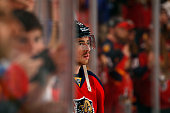 Reilly Smith of the Florida Panthers skates the ice for warms ups prior to the start of the game against the New York Islanders in Game One of the...
