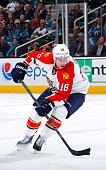 Reilly Smith of the Florida Panthers skates with the puck against the San Jose Sharks at SAP Center on November 5 2015 in San Jose California