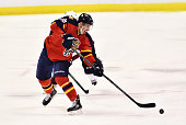 Reilly Smith of the Florida Panthers skates with the puck during a NHL game against the Colorado Avalanche at BBT Center on October 27 2015 in...
