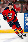 Reilly Smith of the Florida Panthers skates with the puck prior to the start of the game against the Anaheim Ducks at the BBT Center on November 19...