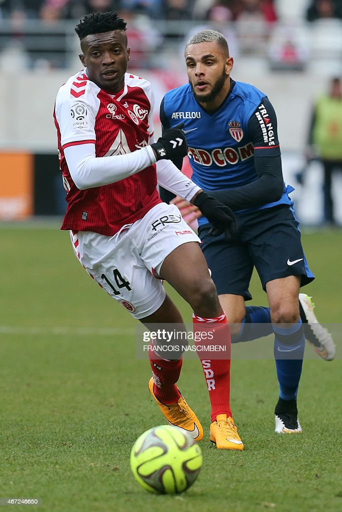 Reims' forward <a gi-track='captionPersonalityLinkClicked' href=/galleries/search?phrase=Benjamin+Moukandjo&family=editorial&specificpeople=7470600 ng-click='$event.stopPropagation()'>Benjamin Moukandjo</a> (L) vies with Monaco's French defender <a gi-track='captionPersonalityLinkClicked' href=/galleries/search?phrase=Layvin+Kurzawa&family=editorial&specificpeople=7204350 ng-click='$event.stopPropagation()'>Layvin Kurzawa</a> (R) during the French Football match between Reims and Monaco, on March 22, 2015 at the Auguste Delaune Stadium in Reims, northeastern France.