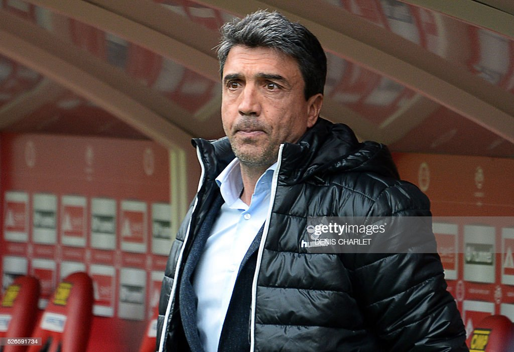 Reims' French head coach David Guion looks on during the French L1 football match between Reims (SDR) and Montpellier (MHSC) on April 30 2016, at the Auguste Delaune Stadium in Reims, eastern France.