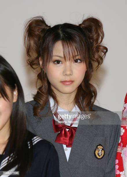 Reina Tanaka a new member of Japanese idol group Morning Musume 8th batch attends a press conference on December 10 2006 in Tokyo Japan