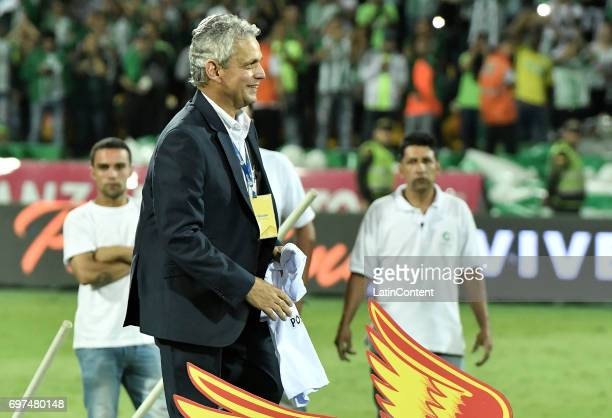 Reinaldo Rueda coach of Nacional smiles after winning the Final second leg match between Atletico Nacional and Deportivo Cali as part of Liga Aguila...