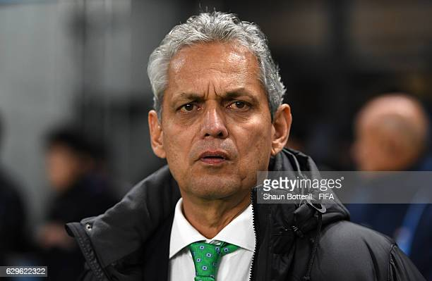 Reinaldo Rueda Manager of Atletico Nacional looks on during the FIFA Club World Cup Semi Final match between Atletico Nacional and Kashima Antlers at...