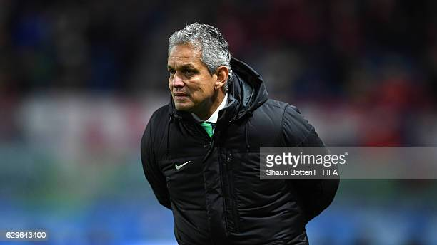 Reinaldo Rueda Manager of Atletico Nacional reacts during the FIFA Club World Cup Semi Final match between Atletico Nacional and Kashima Antlers at...