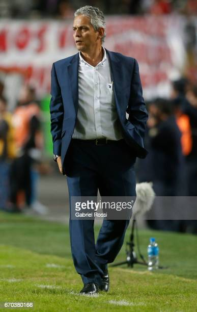 Reinaldo Rueda Rivera coach of Atletico Nacional looks on during a group stage match between Estudiantes and Atletico Nacional as part of Copa...
