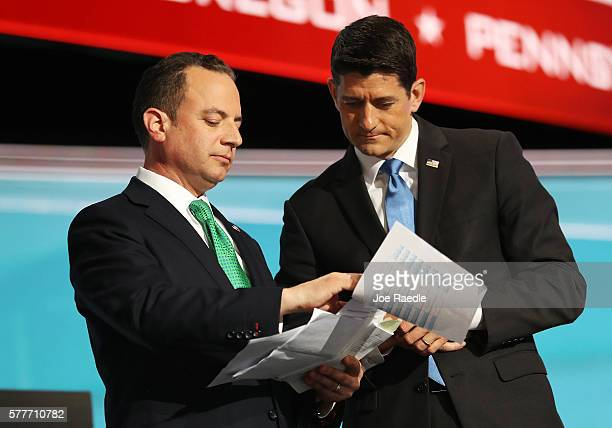 Reince Priebus chairman of the Republican National Committee and Speaker of the House Paul Ryan consult one another about the recount of Alaska...