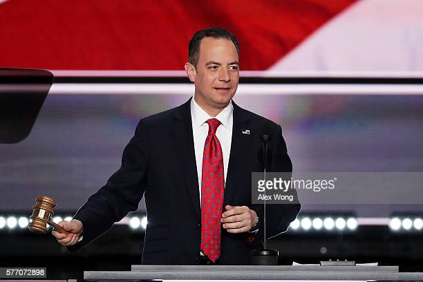 Reince Priebus chairman of the Republican National Committee bangs the gavel to officially the open the first day of the Republican National...