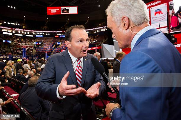 Reince Priebus chairman of the Republican National Committee during a television interview on the first day of the Republican National Convention on...