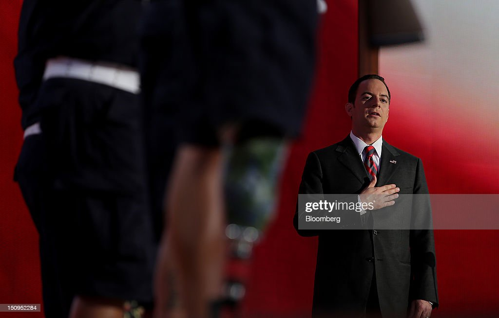 <a gi-track='captionPersonalityLinkClicked' href=/galleries/search?phrase=Reince+Priebus&family=editorial&specificpeople=7419119 ng-click='$event.stopPropagation()'>Reince Priebus</a>, chairman of the Republican National Committee, recites the pledge of allegiance at the Republican National Convention (RNC) in Tampa, Florida, U.S., on Wednesday, Aug. 29, 2012. Representative Paul Ryan takes the stage tonight to address the RNC with a dual mission: to provide a spark, along with his big ideas about cutting the budget, to energize the party's base. Photographer: Scott Eells/Bloomberg via Getty Images
