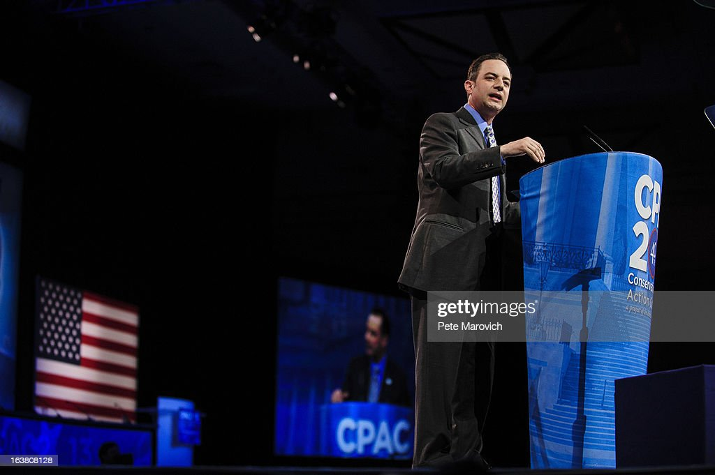 <a gi-track='captionPersonalityLinkClicked' href=/galleries/search?phrase=Reince+Priebus&family=editorial&specificpeople=7419119 ng-click='$event.stopPropagation()'>Reince Priebus</a>, Chairman of the Republican National Committee, speaks at the 2013 Conservative Political Action Conference (CPAC) March 16, 2013 in National Harbor, Maryland. The American Conservative Union held its annual conference in the suburb of Washington, DC to rally conservatives and generate ideas.